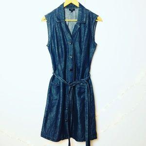 Talbots Linen & Cotton Blend Denim Shirtdress